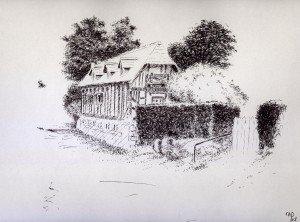 stylo plume : chaumière dans paysage 07-300x222