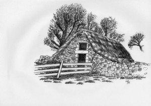 stylo plume : vieille grange dans paysage CROQUIS-4-300x211