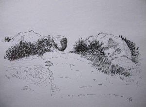 stylo plume : roches dans paysage DSCN4997-300x219