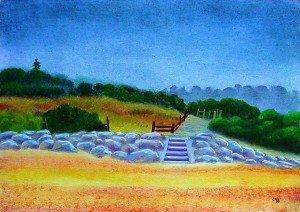 pastel : villerville le chemin de la plage dans pastel pastel-villerville-le-chemin-de-la-plage-300x212