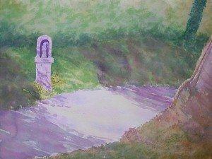 aquarelle : le chemin du calvaire dans aquarelle aquarelle-le-chemin-du-calvaire-300x225