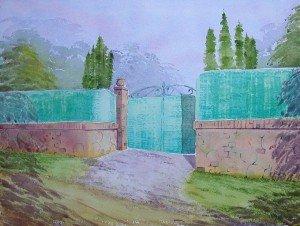 aquarelle : le portail vert dans aquarelle aquarelle-le-portail-vert-300x226