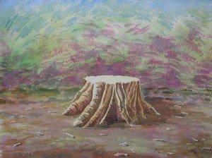 aquarelle : vieille souche dans aquarelle aquarelle-vieille-souche-300x224