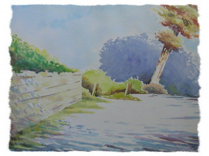 aquarelle : villerville l'entrée du chemin dans aquarelle aquarelle-villerville-lentrée-du-chemin-300x224