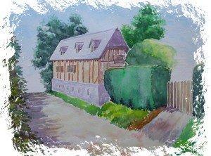 aquarelle : villerville maison en bord de route dans aquarelle aquarelle-villerville-maison-en-bord-de-route-300x222