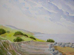aquarelle : chemin cotier dans aquarelle aquarelle-chemin-cotier-300x225
