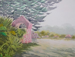 aquarelle le portail de pierre dans aquarelle aquarelle-le-portail-de-pierre-300x226