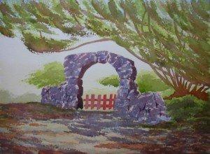 aquarelle sous les arbres dans aquarelle sous-les-arbres-300x220