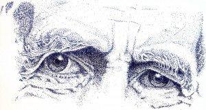 stylo plume : abbé Pierre dans portraits regard-de-pierre-300x161