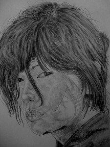 crayon graphite portrait rurouni kenshin